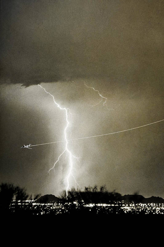 Lightning Art Print featuring the photograph Lightning Storm City Lights Jet Airplane Fine Art Photography by James BO Insogna