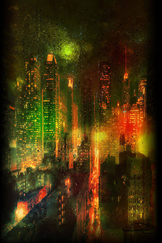 City Art Print featuring the painting Lights In The City by Emma Alvarez