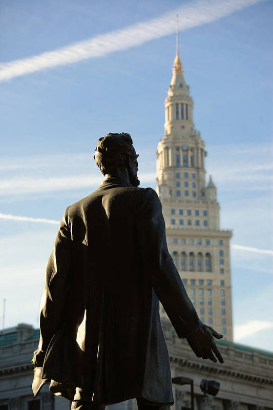 Abe Art Print featuring the photograph Lincoln Statue And Terminal Tower by Kathleen Nelson
