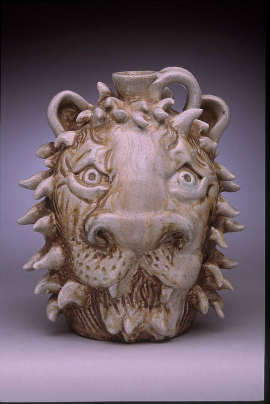 Face Jug Art Print featuring the ceramic art Lion Face Jug by Stephen Hawks