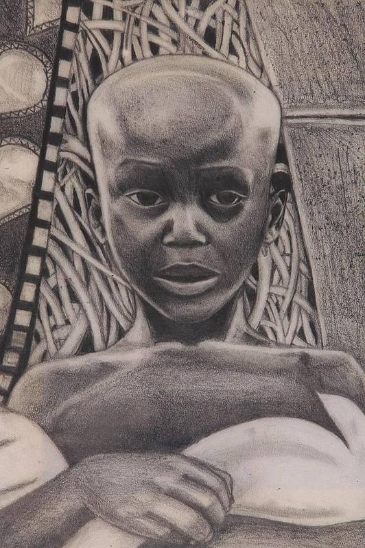 Malik Seneferu Art Print featuring the drawing Listen To My Eyes by Malik Seneferu