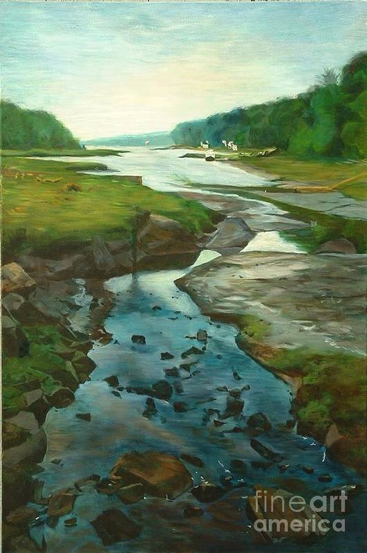 River Art Print featuring the painting Little River Gloucester by Claire Gagnon