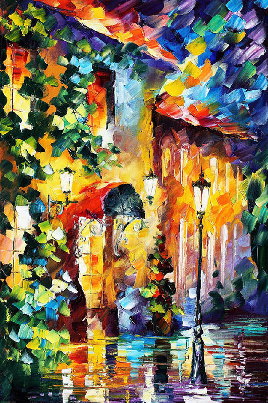 Afremov Art Print featuring the painting Living Town by Leonid Afremov