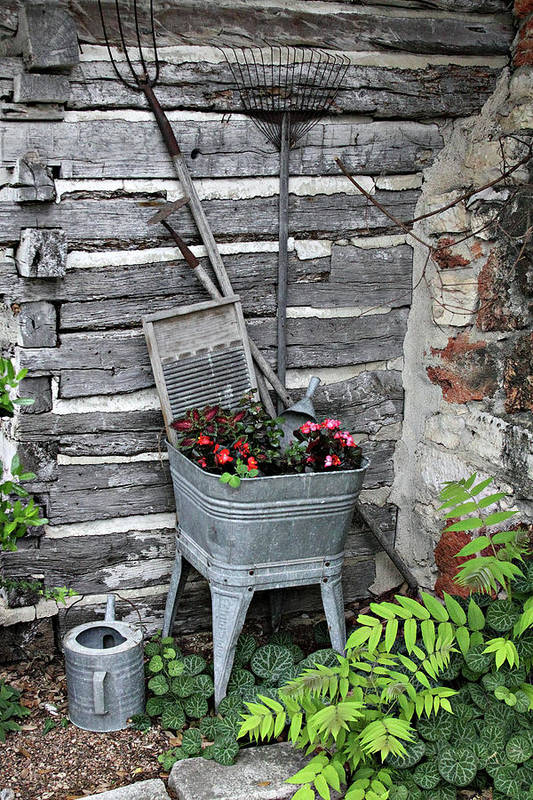 Creative Art Print featuring the photograph Log Cabin Garden Scene by Linda Phelps