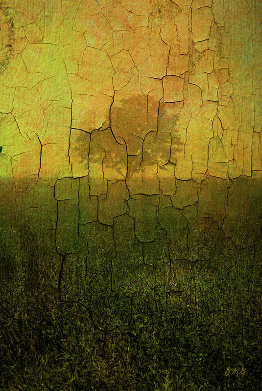 Digital Art Print featuring the photograph Lone Tree In Meadow -textured by Dave Gordon