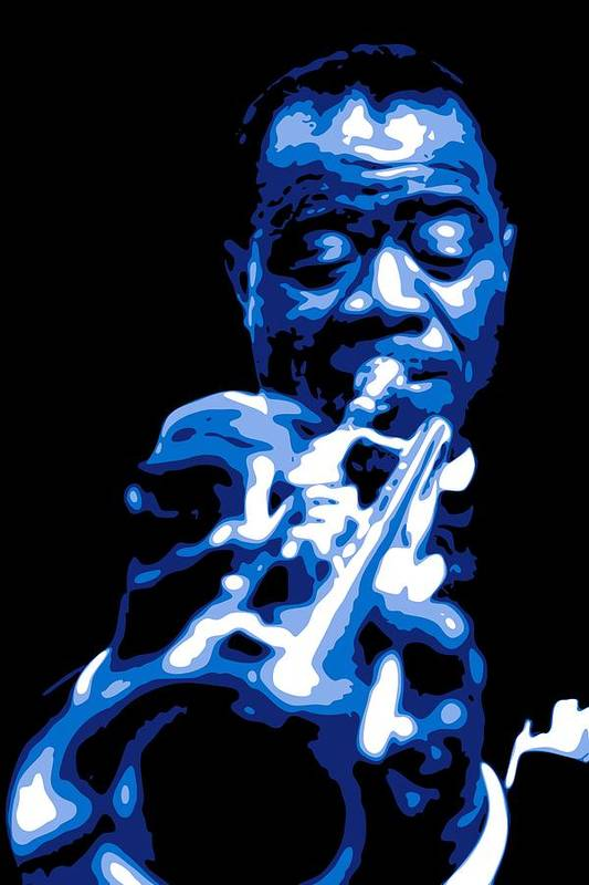 Louis Armstrong Art Print featuring the digital art Louis Armstrong by DB Artist
