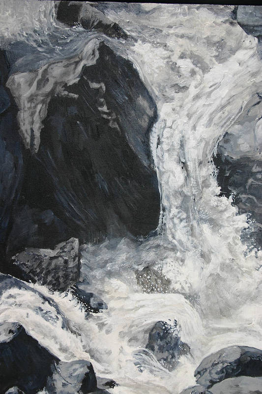Water Art Print featuring the painting Lower Vernal Black And White by Travis Day