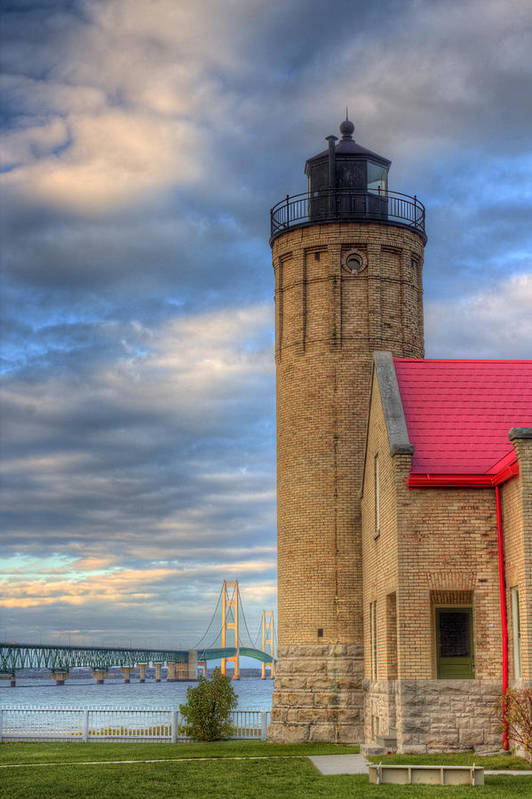 Mackinac Art Print featuring the photograph Mackinac Lighthoue And Bridge by Twenty Two North Photography