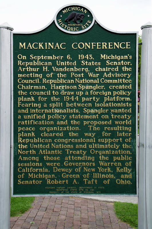 Mackinac Art Print featuring the photograph Mackinaw Conference Signage Mackinac Island Michigan Vertical by Thomas Woolworth
