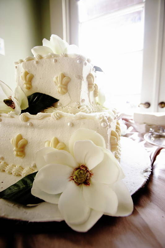 Magnolia Cake Wedding Bride Groom Party Food Art Print featuring the photograph Magnolia Cake Three by Angie Covey