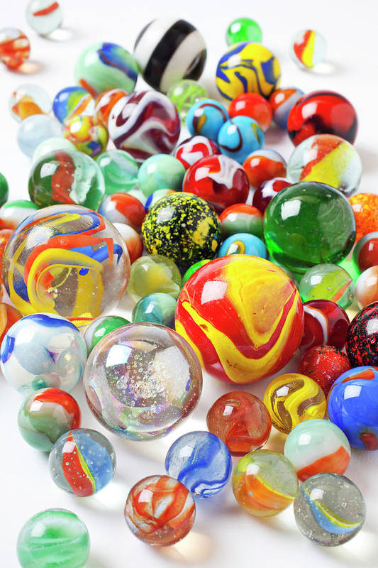 Marble Marbles Many Pile Shooter Shooters Round Glass Toy Toys C Print featuring the photograph Many Marbles by Garry Gay