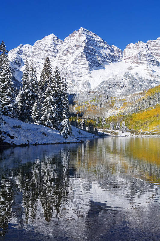 Aspen Print featuring the photograph Maroon Lake And Bells 2 by Ron Dahlquist - Printscapes