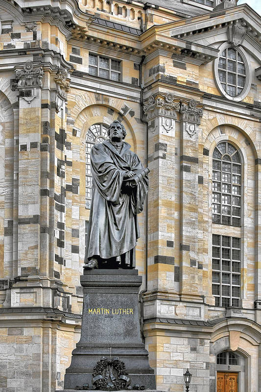 Martin Luther Art Print featuring the photograph Martin Luther Monument Dresden by Christine Till