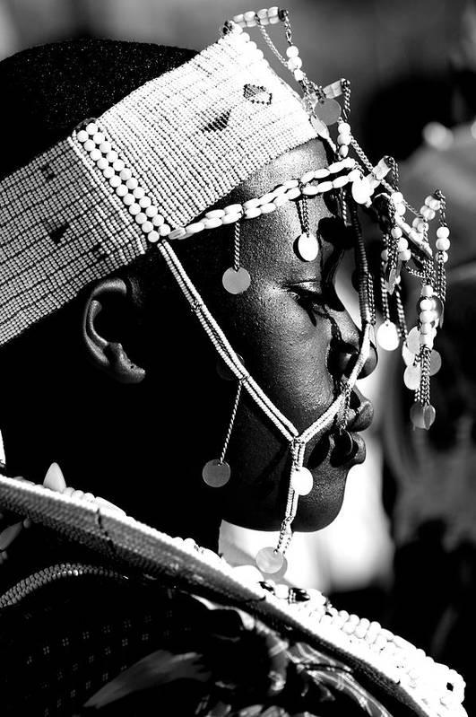 Black And White Art Print featuring the photograph Massai Bride by Miranda Miranda