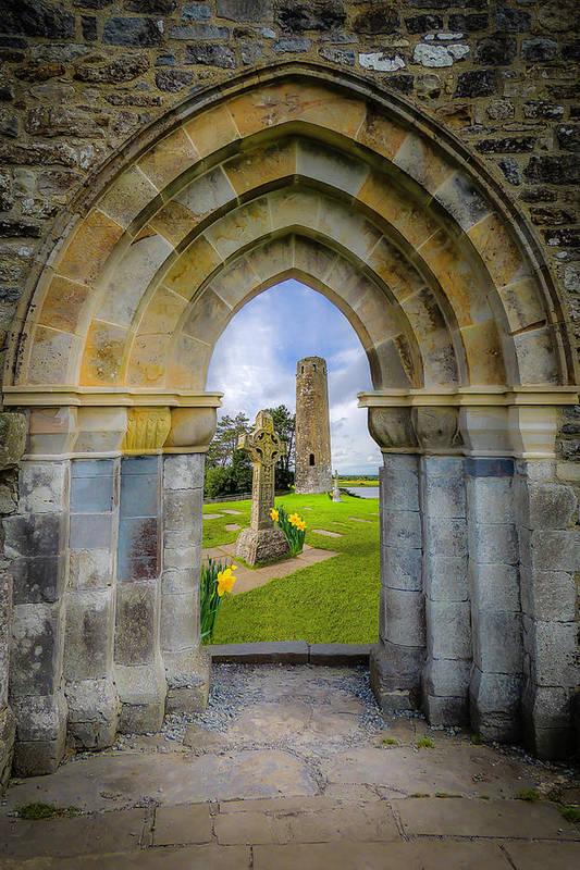 Clonmacnoise Art Print featuring the photograph Medieval Irish Countryside by James Truett