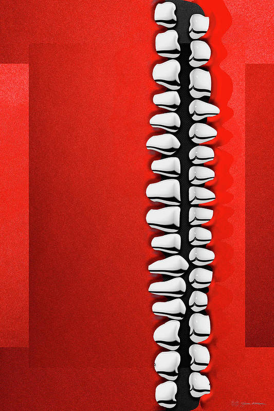 'memento Mori' Collection By Serge Averbukh Art Print featuring the digital art Memento Mori - Silver Human Teeth Over Red And Black Canvas by Serge Averbukh
