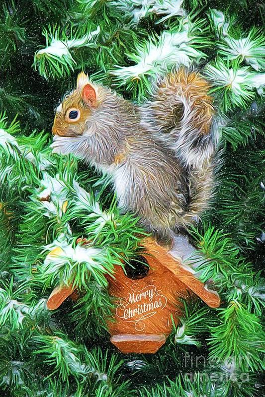 Christmas Squirrel.Merry Christmas Squirrel Art Print