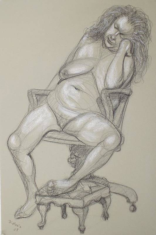 Realism Art Print featuring the drawing Miriam 1 by Donelli DiMaria