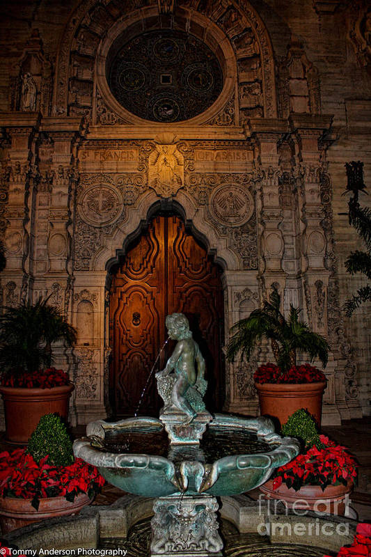 Mission Inn Art Print featuring the photograph Mission Inn Chapel Fountain by Tommy Anderson
