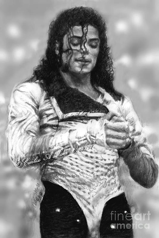 Michael Jackson Art Print featuring the drawing Mj Preps For The Show by Carliss Mora