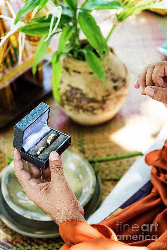 Buddhist Art Print featuring the photograph Monks Blessing Buddhist Wedding Ring Ceremony In Cambodia by Jacek Malipan