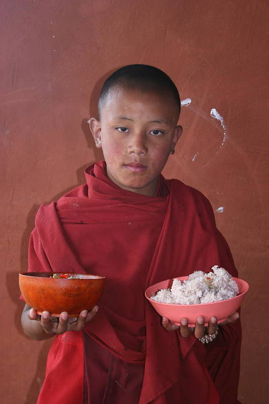 Bhutan Monk Lunch Rice Child Robes Bhutanese Art Print featuring the photograph Monks Lunch by Linda Russell