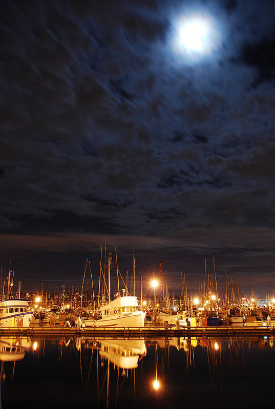 Fishing Art Print featuring the photograph Moon Over Fishermans Terminal by Alasdair Turner
