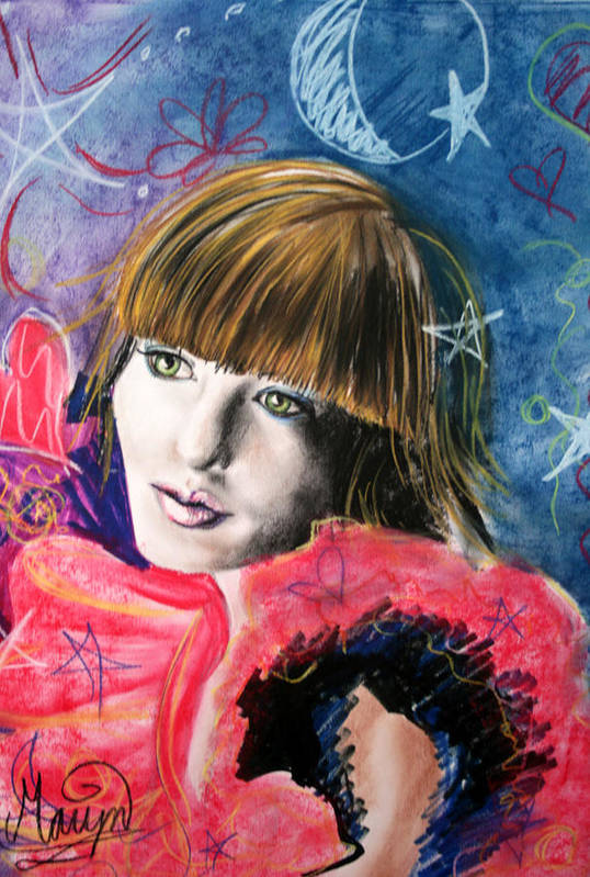 Portrait Art Print featuring the drawing Moonlight Glam by Maryn Crawford