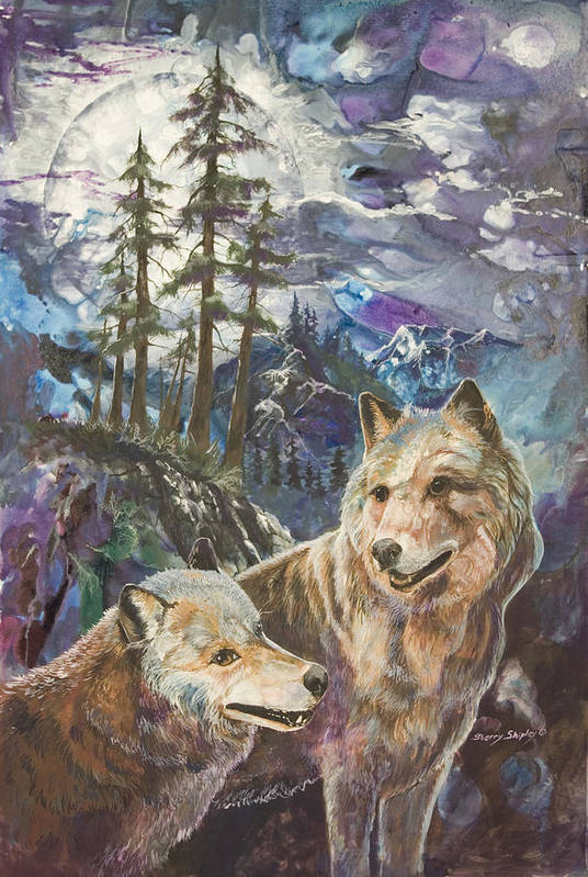 Wolf Art Print featuring the painting Moonlight Rendezvous by Sherry Shipley