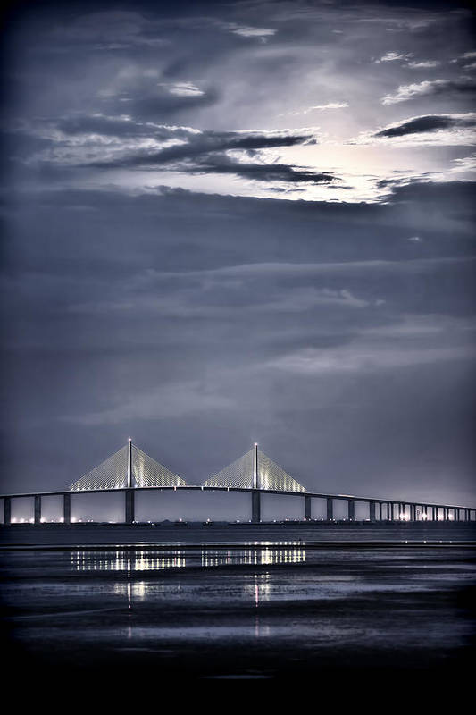 Moon Print featuring the photograph Moonrise Over Sunshine Skyway Bridge by Steven Sparks