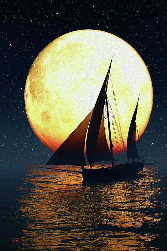 Night Art Print featuring the digital art Moonsailor by Andreas Hoops