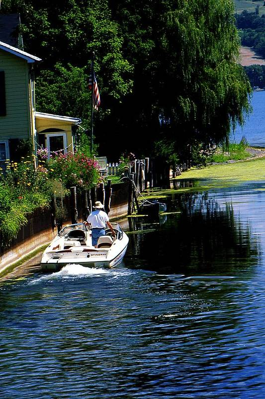 Seneca Lake Art Print featuring the photograph Motor Boat On Canal by Roger Soule