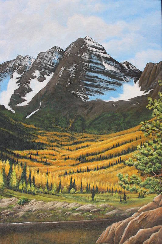 Mountains Art Print featuring the painting Mountain Valley by Diana Miller