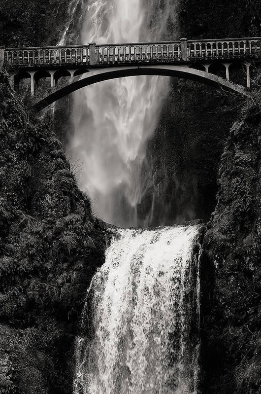 Oregon Art Print featuring the photograph Multnomah Falls Oregon Bw by Tommy Ray Fowler