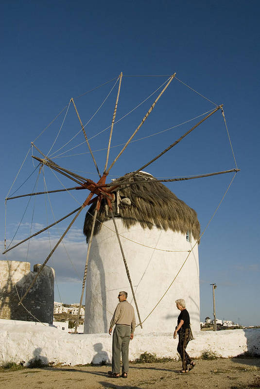 Mykonos Art Print featuring the photograph Mykonos Icon Windmill by Charles Ridgway