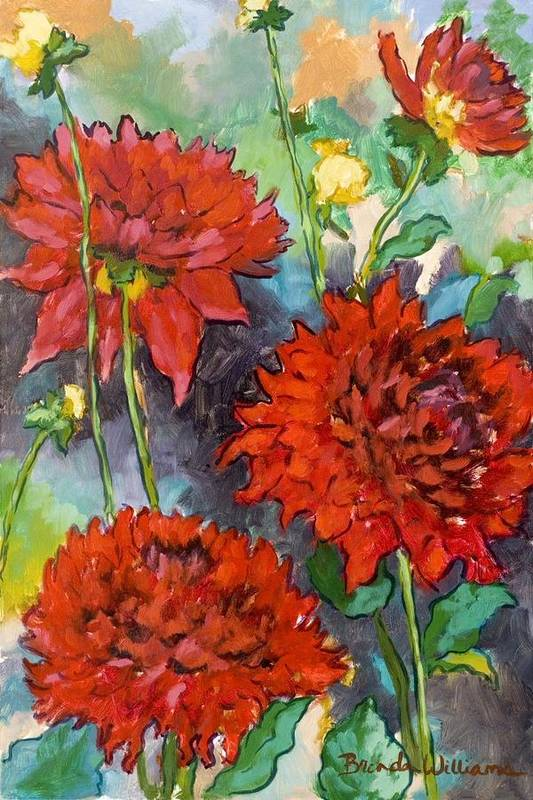 Dahlias Art Print featuring the painting Mystery Day Dahlias by Brenda Williams