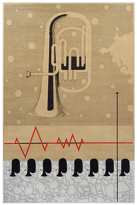 Music Art Print featuring the drawing Mystry Of Music 5 by Bharat Gothwal