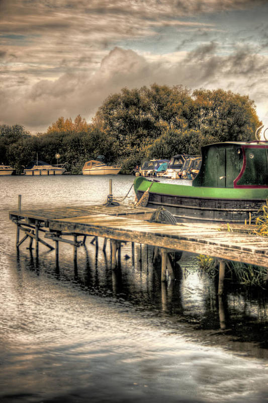 Hdr Art Print featuring the photograph Narrow Boat And Jetty by Vicki Field