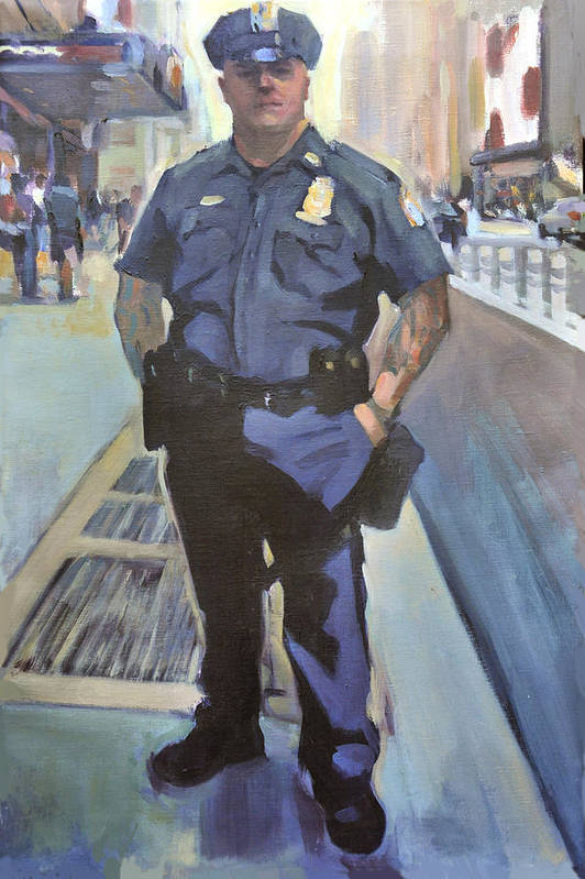Cop On The Beat.new York Policeman Art Print featuring the painting New York by Merle Keller