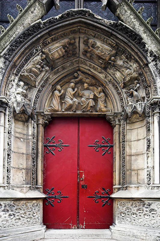 Notre Dame Art Print featuring the photograph Notre Dame Cathedral Side Door Architecture In Paris by Pierre Leclerc Photography