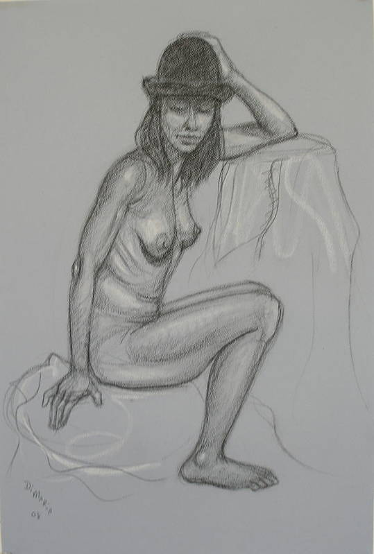 Realism Art Print featuring the drawing Nude With Hat 1 by Donelli DiMaria