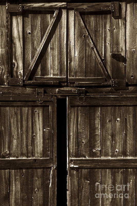 Barn Art Print featuring the photograph Old Barn Door - Toned by Paul W Faust - Impressions of Light