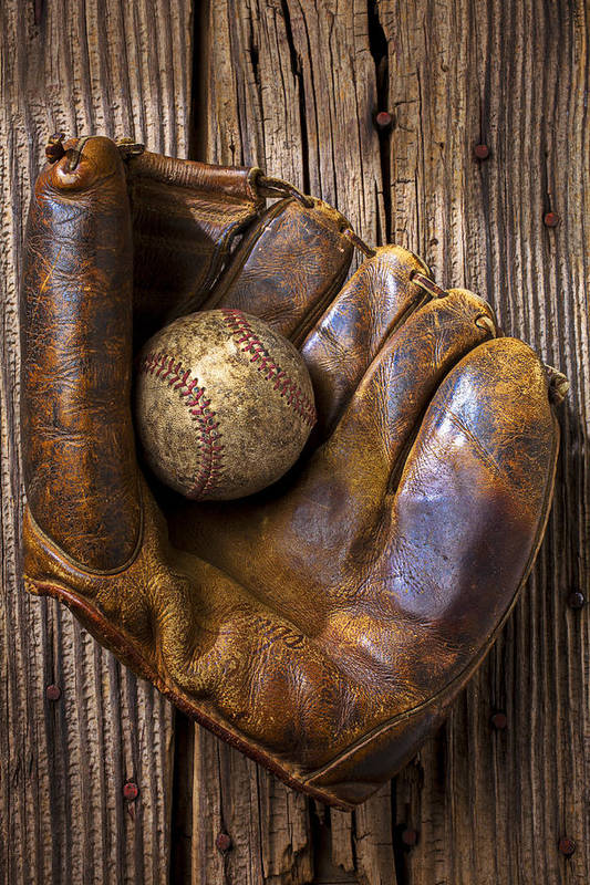 Old Art Print featuring the photograph Old Baseball Mitt And Ball by Garry Gay
