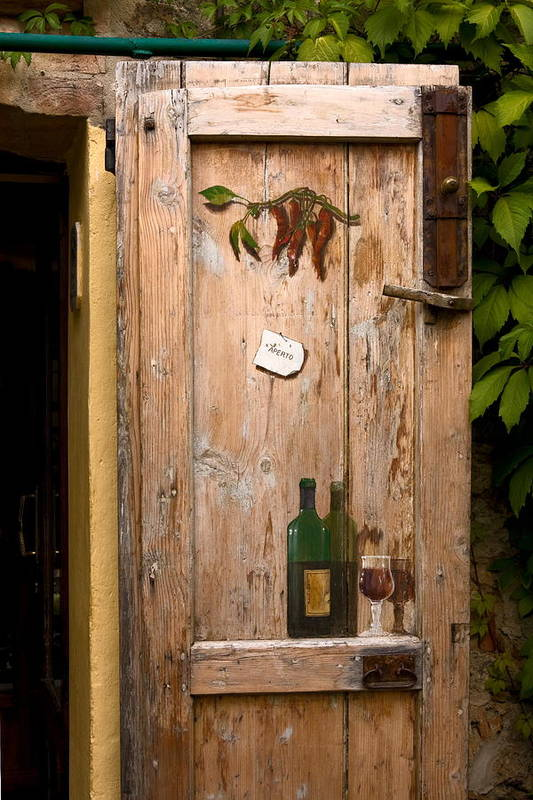 Old Door Art Print featuring the photograph Old Door And Wine by Sally Weigand