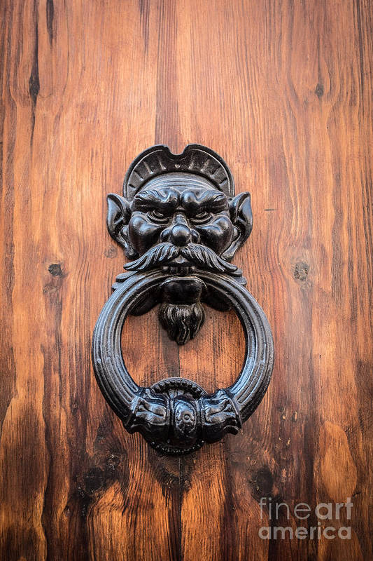Door Art Print featuring the photograph Old Face Door Knocker by Edward Fielding