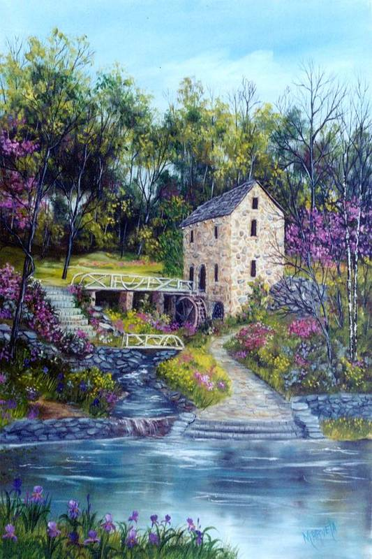 Landscape Art Print featuring the painting Old Mill  Spring by Marveta Foutch