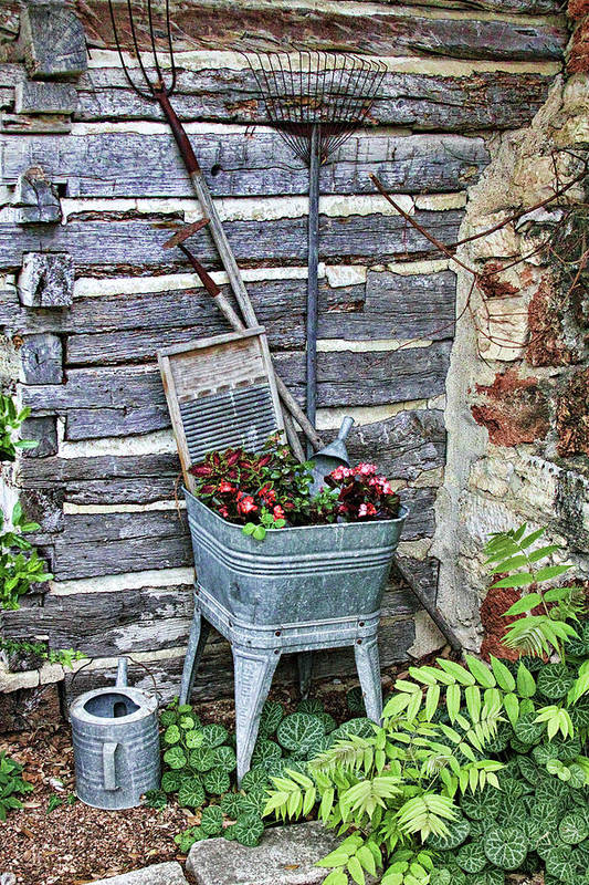 Creative Art Print featuring the photograph Old Rural Garden Scene by Linda Phelps