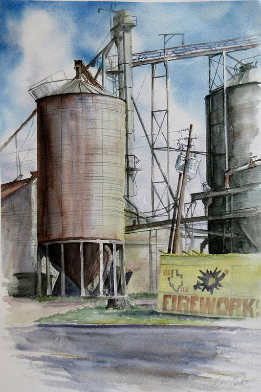 Silo Art Print featuring the painting Old Silo by Karen Boudreaux