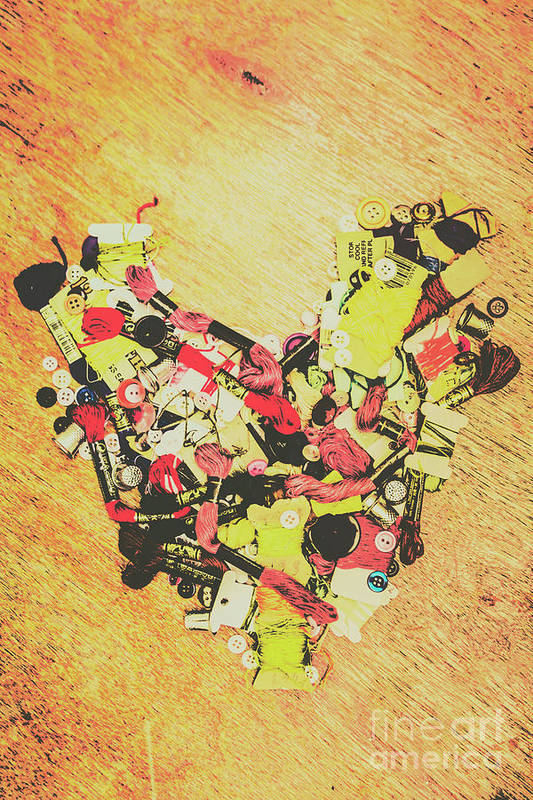Heart Art Print featuring the photograph Old Threads And Hearts by Jorgo Photography - Wall Art Gallery
