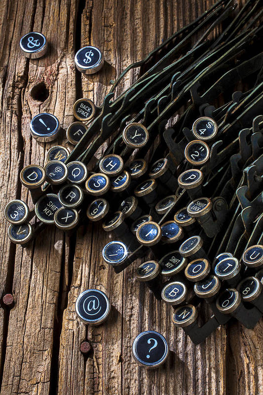 Old Typewriter Print featuring the photograph Old Worn Typewriter Keys by Garry Gay